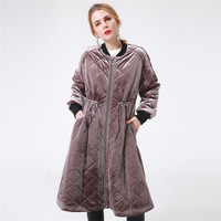 Female Velvet Long Winter Down Jacket Thick Tunic Purple Patchwork Padded Jacket Casual Women Outwear Warm