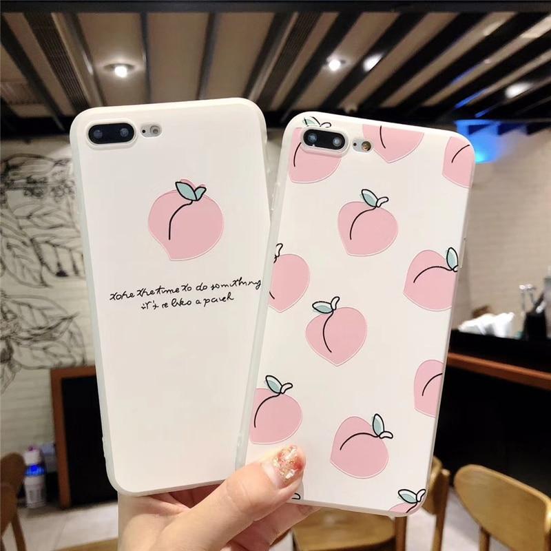 Cartoon Delicious Fruit Case For iphone X 6 6S Plus 7 8 Plus Cute Juicy Peach Watermelon Soft TPU Phone Cases Back Cover Coque iPhone
