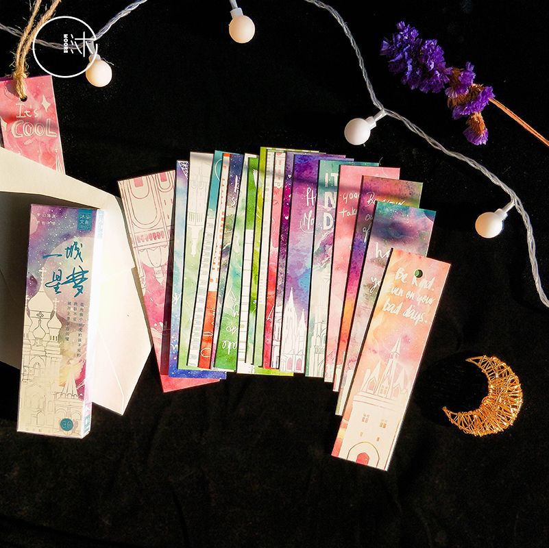 30pcs/pack Dreamy City Cartoon Paper Bookmarks Message Cards For Student Stationery