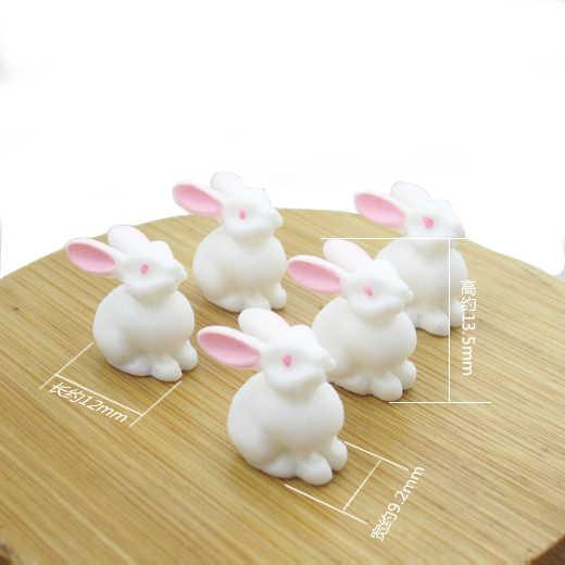 10pcs Cute Mini Rabbits Figurine Animal Model Miniature Fairy Garden Decoration Statue Resin Craft