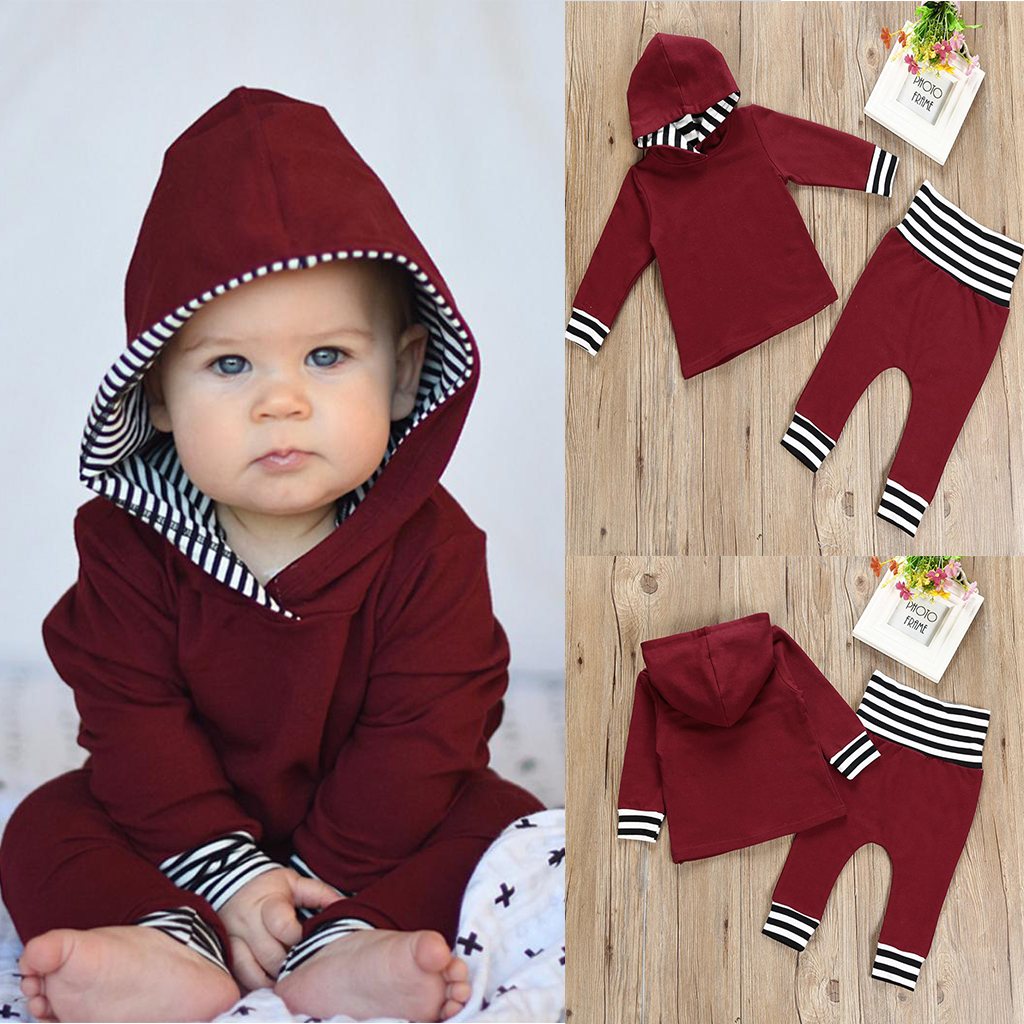 2Pieces Striped Toddler Kids Baby Girl Hoodie Tops +Pants Leggings 2Pcs Outfits Set Clothes toddler kid baby girl clothes set 3 pcs infant off shoulder blouse tops denim hole pants jeans headband outfits clothes