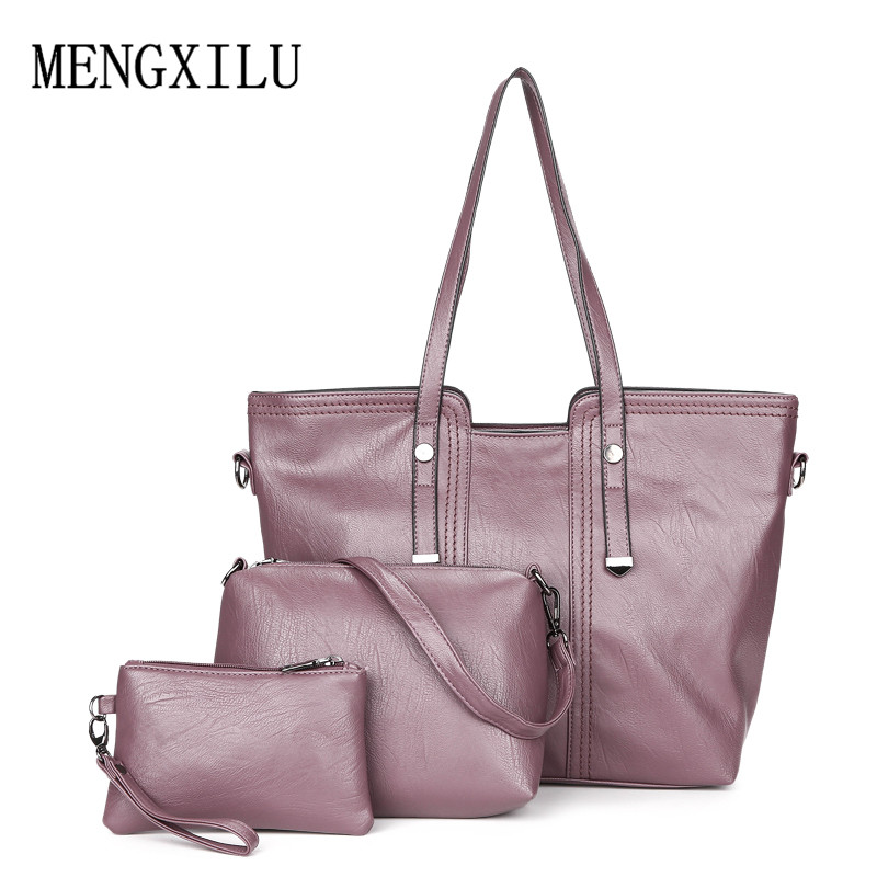 Luxury 3Pcs / Set naiste käekott crossbody kotid pu nahast naiste - Käekotid - Foto 4
