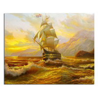 Yellow Sailboat 60x48cm Full Drill Diamond Embroidery 3d Diamond Cross Stitch Fashion Diamond Mosaic Pictures Of