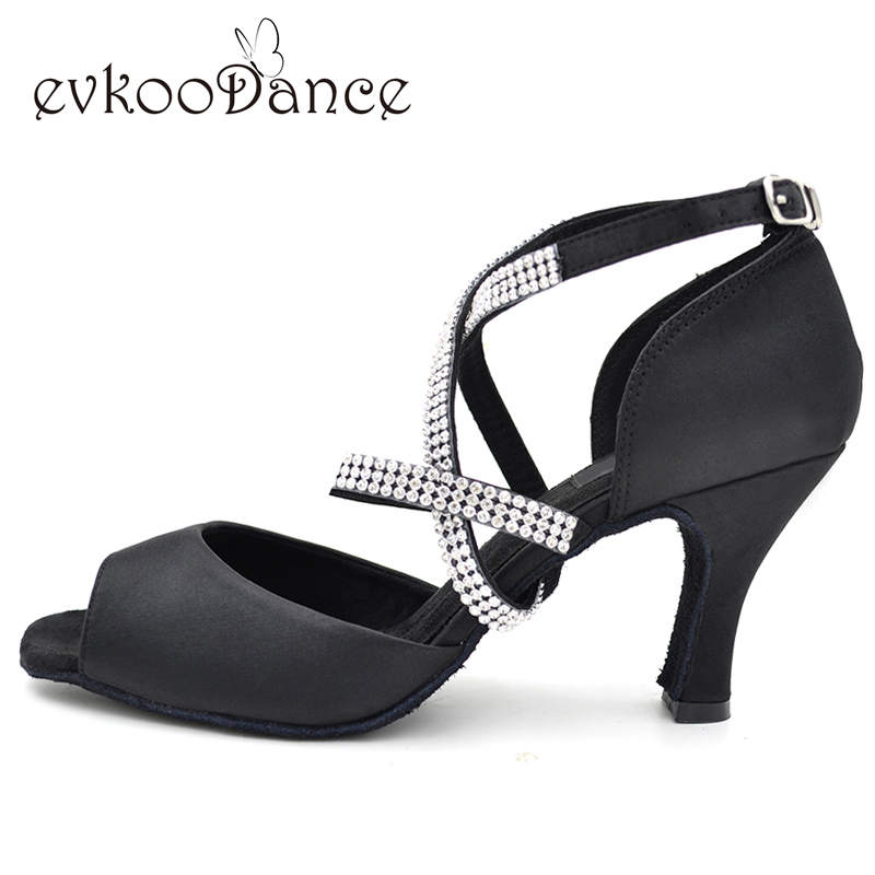 Evkoodance merke Gratis frakt Latin Salsa Dance Shoes Diamond strips latin dance sko til WomenNL025