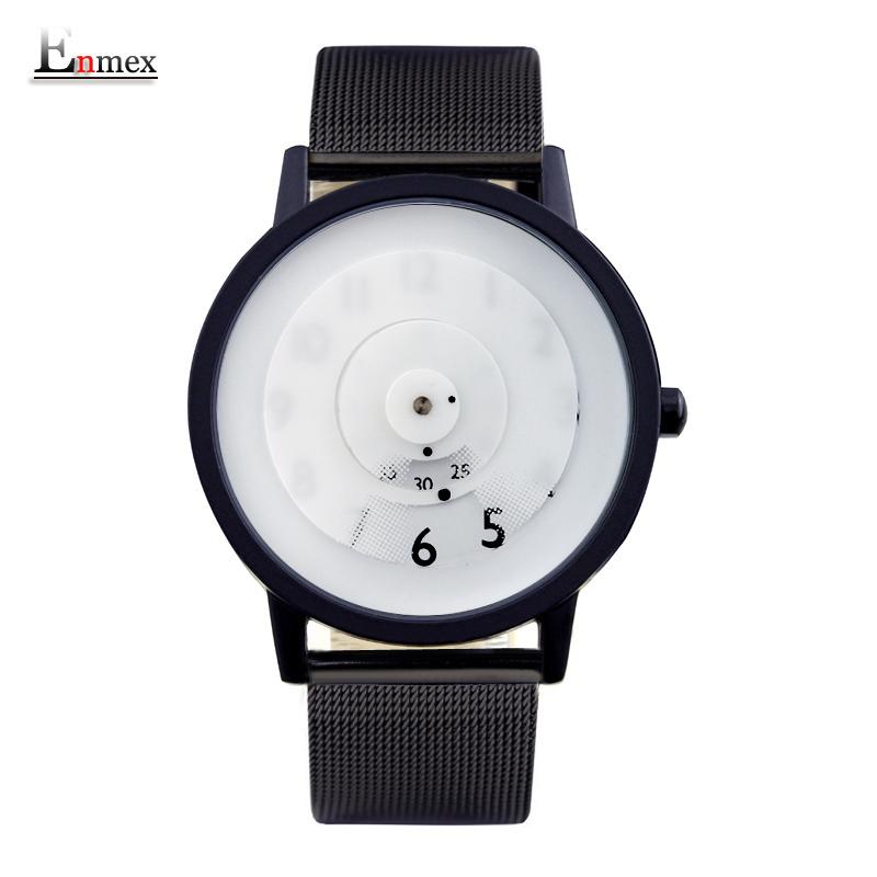 Prix pour 2016 enmex style créatif en acier bande montre-bracelet vérité dans la fiction conception spéciale disques mains mode brève casual quartz montre