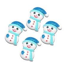 LF 10 шт., рождественские украшения в виде снеговика из смолы, кабошон с плоской задней стороной, украшения для скрапбукинга, каваи, милые Diy аксессуары