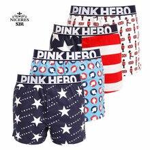 PINK HERO 4Pcs/Lot Men Underwear Shorts Print Cartoon Cotton Boxers Short Pants Loose Sexy Boxer