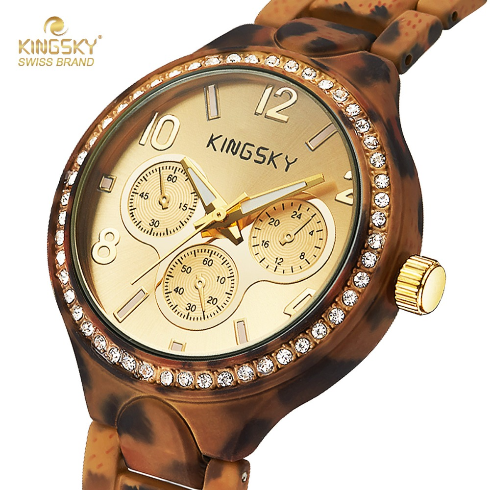 Kingsky brand quartz fashion designed leopard print wristwatch for the cool lady and even cooler for Watches brands for girl