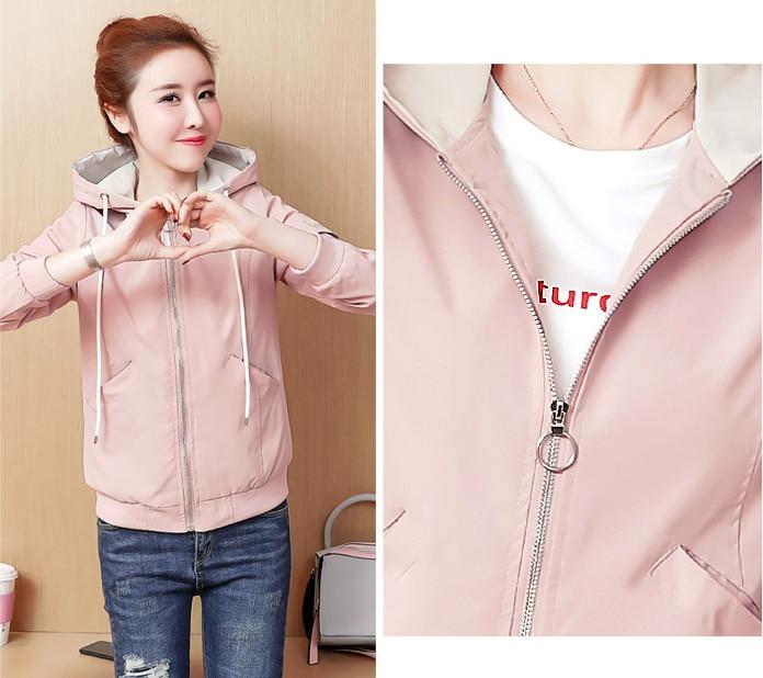 2019 Women Spring autumn jacket Casual Hooded Print Baseball Jackets Female Fashion embroidery Over Coat Women's Short parkas 70