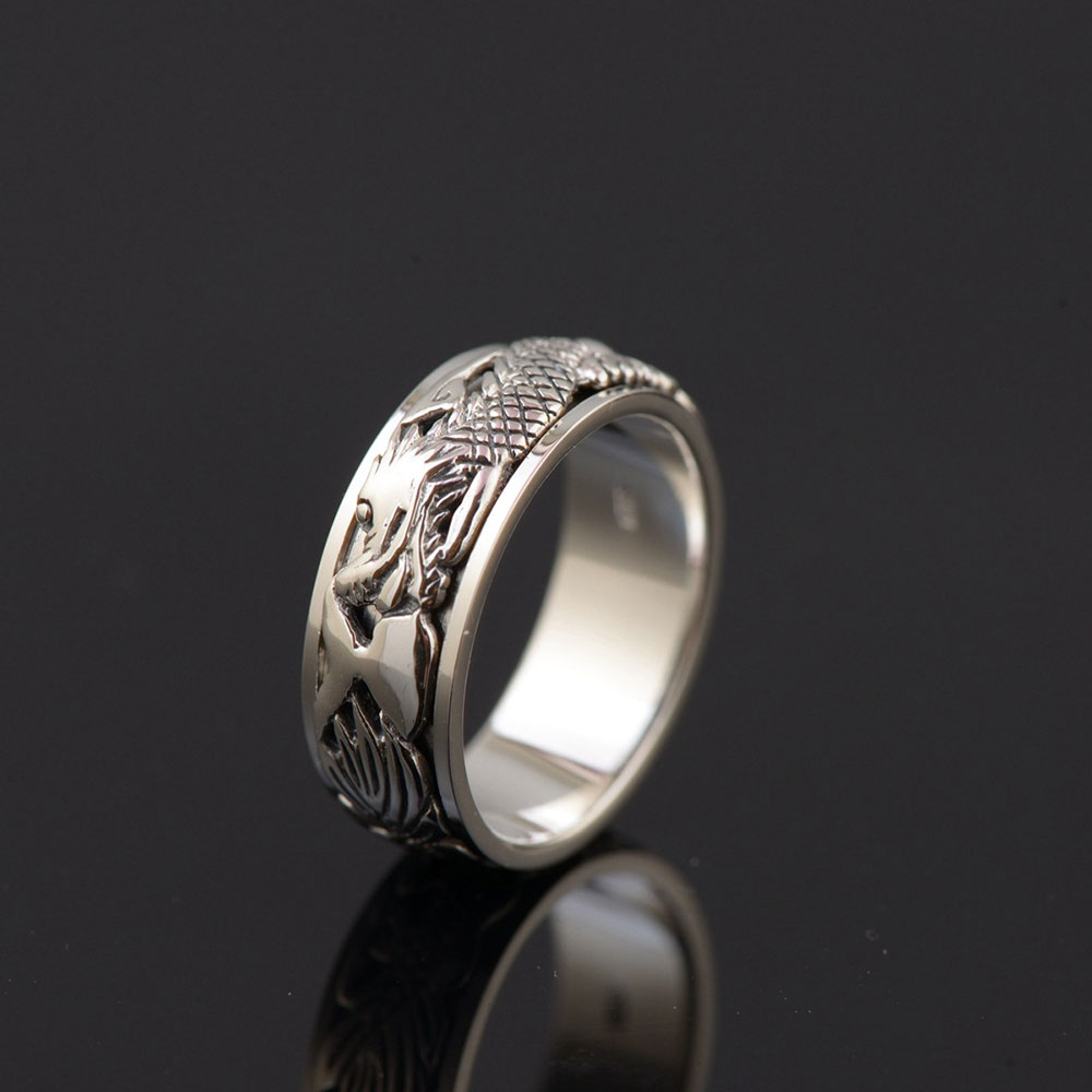 FNJ 925 Silver Dragon Head Ring New Fashion Real S925 Sterling Thai Silver Rings for Women Men Jewelry USA Size 7-11.5 equte rssw28c1s7 elegant women s titanium steel zircon ring silver usa size 7