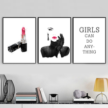 Fashion Paris Lipstick Modern Girl Quotes Wall Art Canvas Painting Nordic Poster Prints Pictures For Living Room Decor
