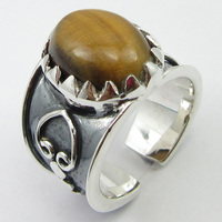 Silver Tiger's Eye Ring Size 6 Women's Fashion Jewelry Unique Designed