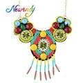 Newindy Étnica Joyas de Estilo Bohemio Cuentas de Colores Collar Grande de la Flor Maxi Collar Para Las Mujeres Joyería India