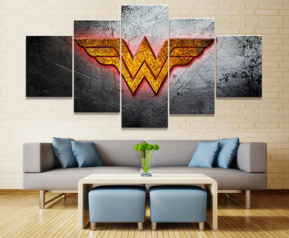 Dc Comics Wall Art framed 5 piece canvas poster dc comics wonder woman logo paintings