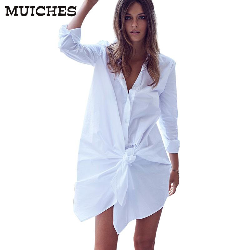 Muiches White Shirt Dress Women Sexy Bow Long Sleeve