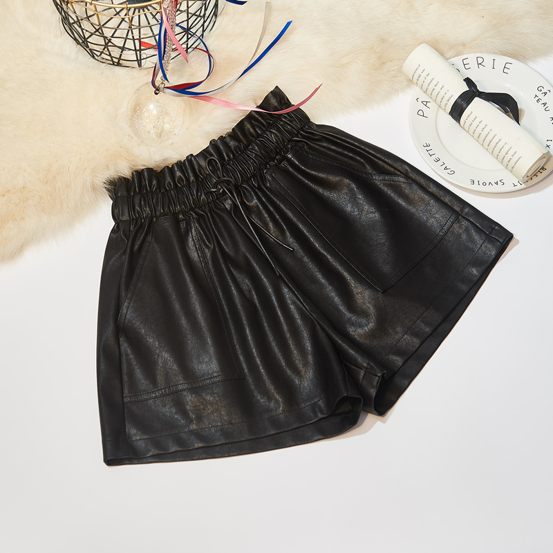 SexeMara Women PU Leather Shorts Casual Elastic High Waist Wide Leg Short Pants Plus Size Autumn Winter Outerwear Woman Shorts