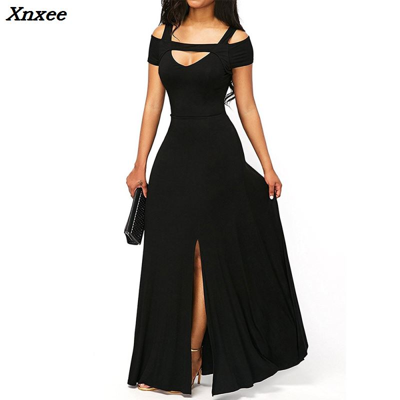 Sexy Summer Split Women Dress Elegant Solid Short Sleeve Ankle Length Maxi Long Dresses Vintage Party Club Vestidos Plus Size in Dresses from Women 39 s Clothing