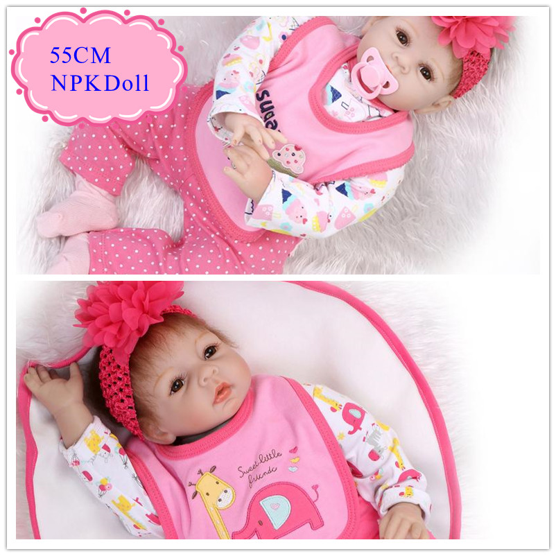 Reliable Good Quality 55cm 22inch NPK Brand Reborn Doll Toys With Pink Layette Soft Vinyl Bebe Reborn Dolls Babies Acompany Toys reliable good quality 55cm 22inch npk brand reborn doll toys with pink layette soft vinyl bebe reborn dolls babies acompany toys