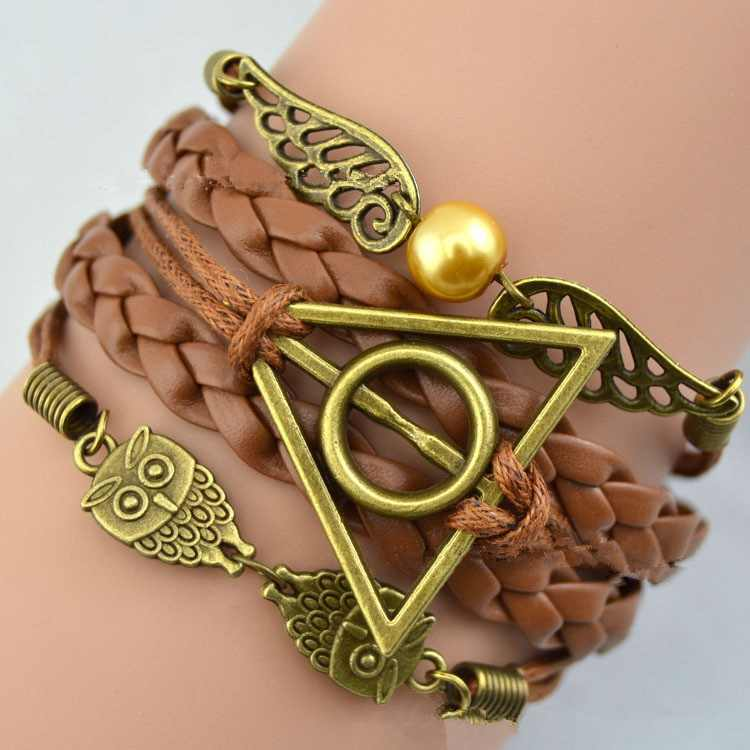 Harry Multilayer Braided Bracelets Vintage Owl Deathly Hallows wings Infinity Bracelet Bangle Gryffindor Slytherin Free Shiping