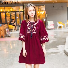 NiceMix Flare Sleeve Bohemian Style Women Dress Elegant 2019 Autumn Half Embroidery Floral Vestido Feminino Lace Up Mid