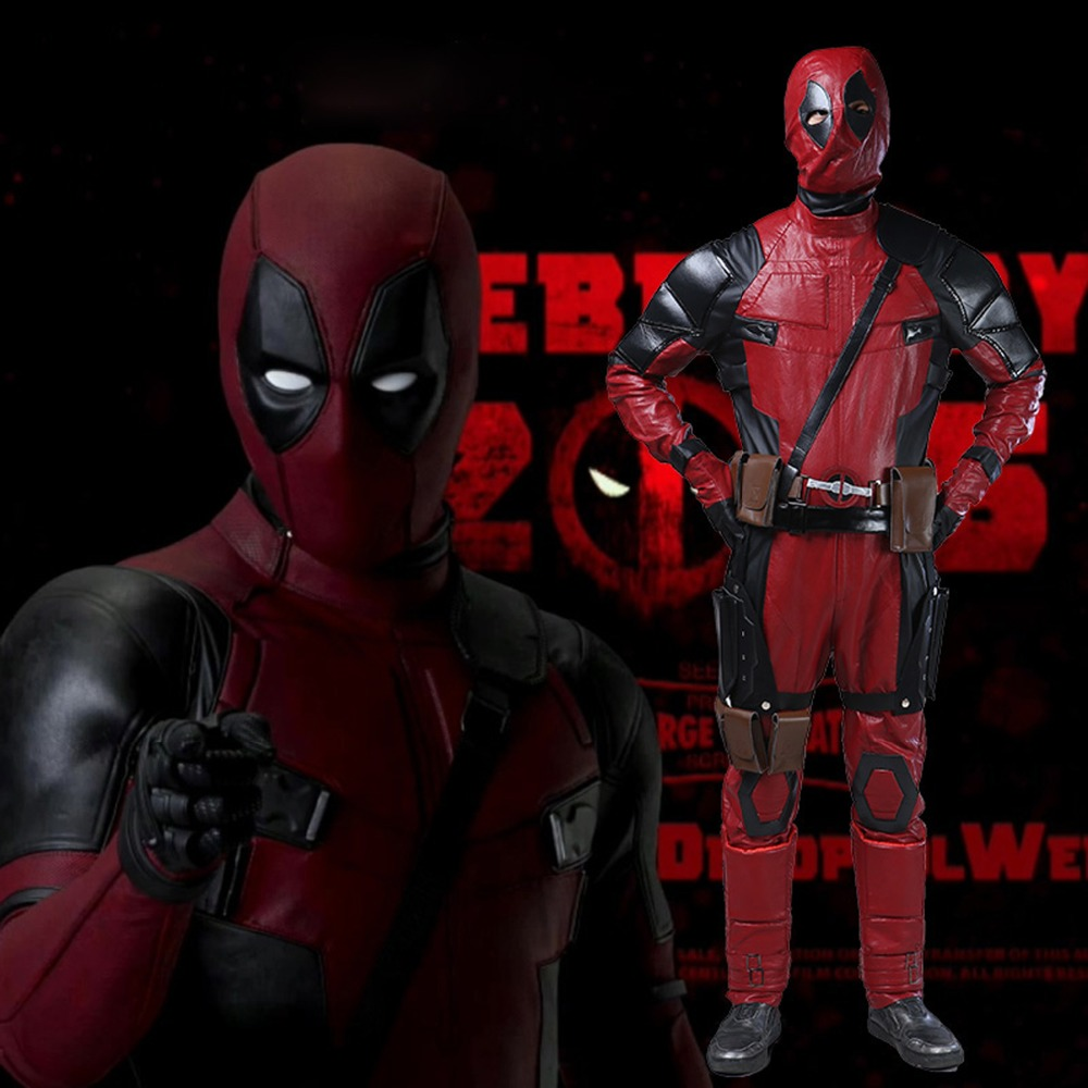 Adult Deadpool Costume Movie Deadpool Cosplay Wade Wilson Costume Halloween Costumes for men Sci-fi costumes leather full set лонгслив emdi emdi em012ewsdn61
