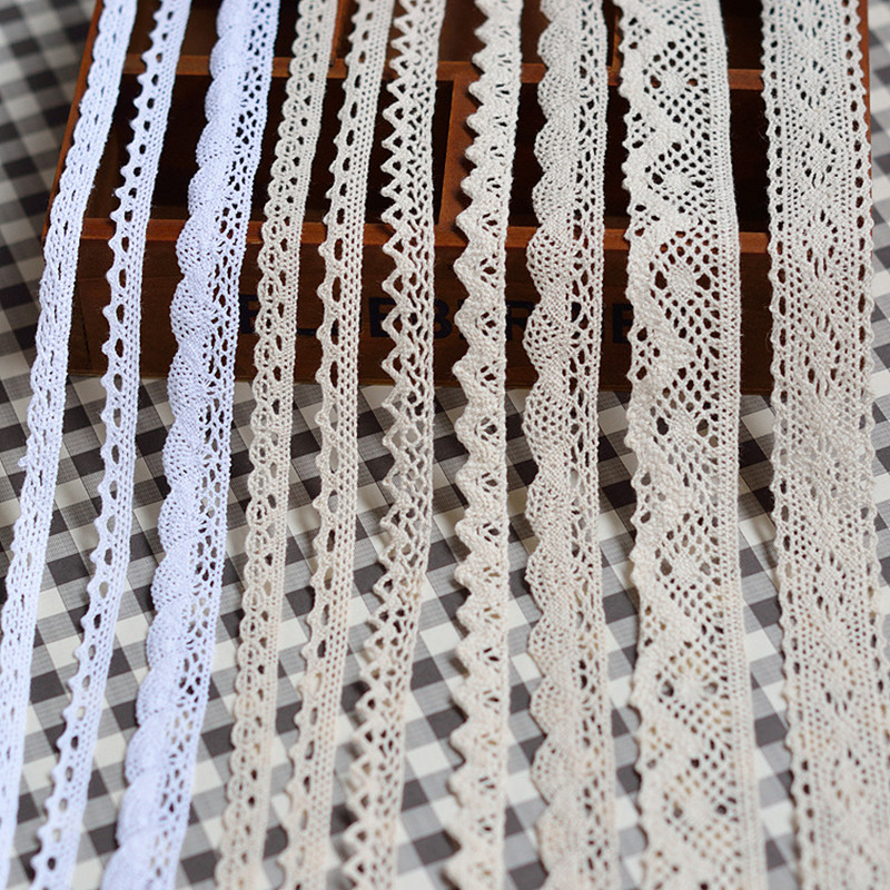 5yards Lace Trim Ribbon White Beige Cotton Lace Trim Embroidered Net Tape Ribbon Fabric Lace Home