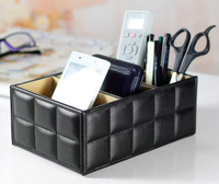 PU Leather Portable   Storage   Boxes Luxury Remote Control Phone Holder   Home     Office   Car Organizer Cosmetic Make Up Container C505