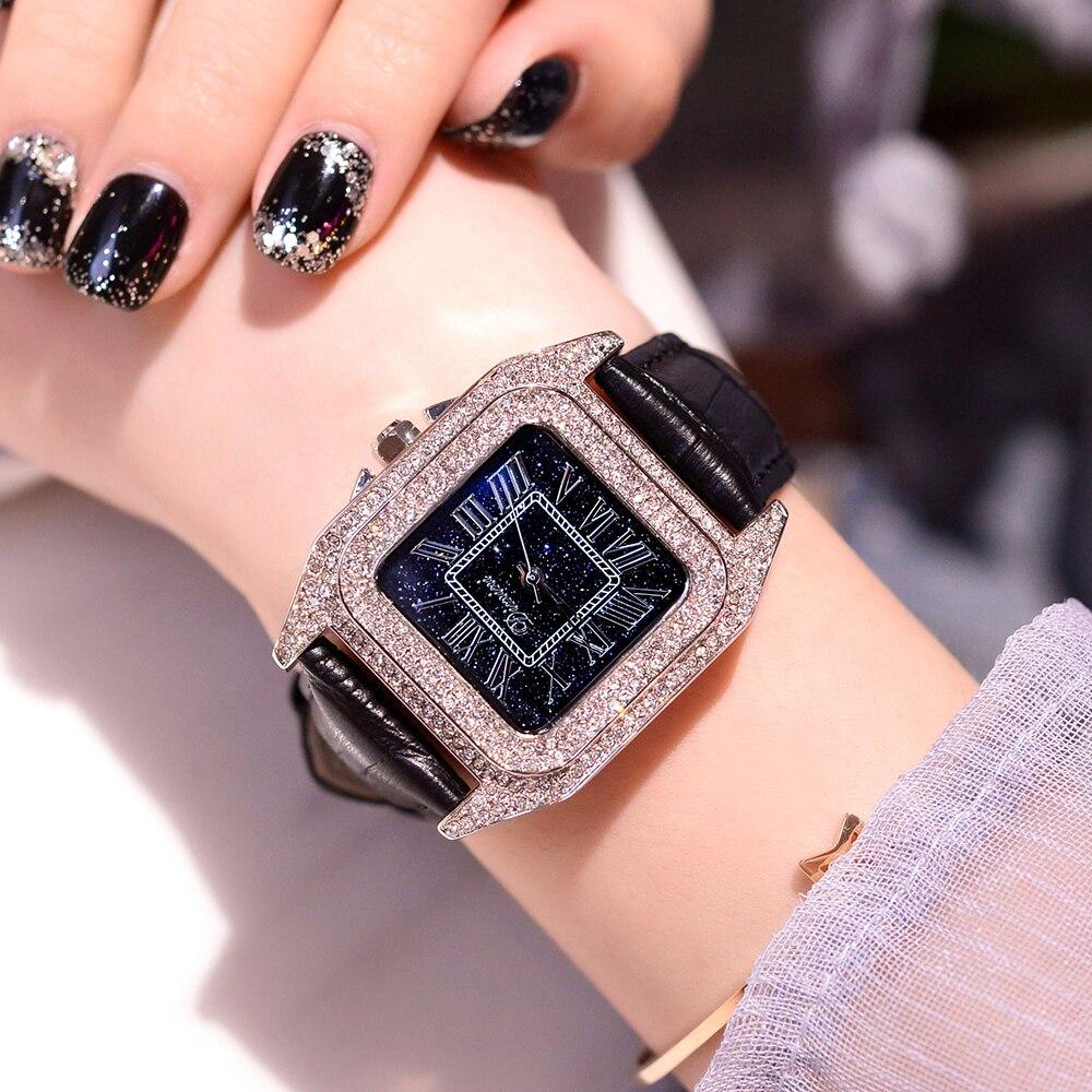 2018 Marque De Mode Femmes Carré Bracelet Montres Dames Top De Luxe Bracelet En Cuir Strass Quartz Montre Nouvelles Femmes Casual Horloge