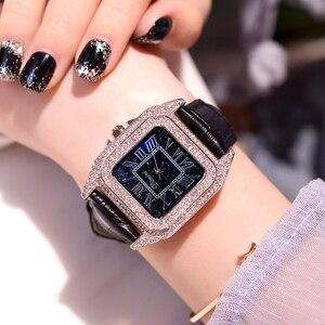 Image 1 - 2019 moda marka kadınlar kare bilezik saatler bayanlar en lüks deri kayış taklidi quartz saat yeni kadın Casual saat