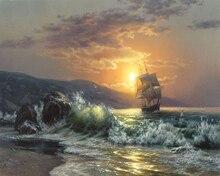 Безрамное картина волны картина с изображением моря по номерам Современные Wall Art расписанную живопись маслом на холсте для украшения дома