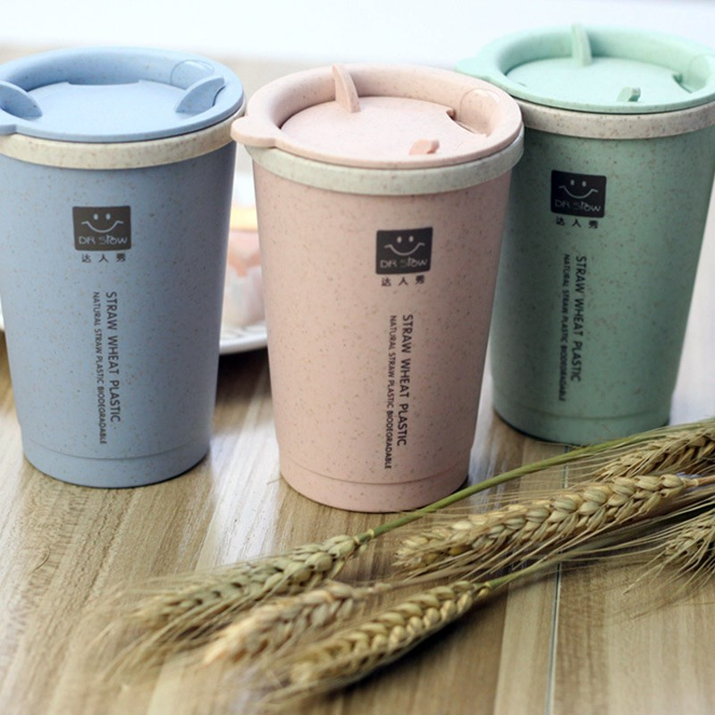 280ML Simple Wheat Fiber Double Layer Insulation Student Cup Innovative Water Cup Coffee Milk Tea Cup With Lid Home Office