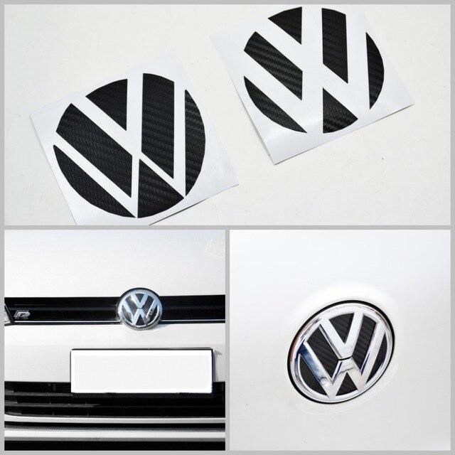 Noir en fiber de carbone avant et arrière Badge insérer Trunk autocollant FIT VW Mk7 Golf7car style