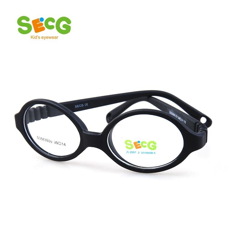 fb9d032139f SECG Soft Flexible Round UltraLight Kid Optical Glasses Frame for Children s  Glasses Unisex Boy Girl Myopia