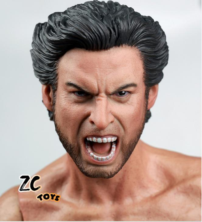 roar Custom 1/6 Scale Hugh Jackman Wolverine Head Sculpt For Hot Toys Body 2016 for 12