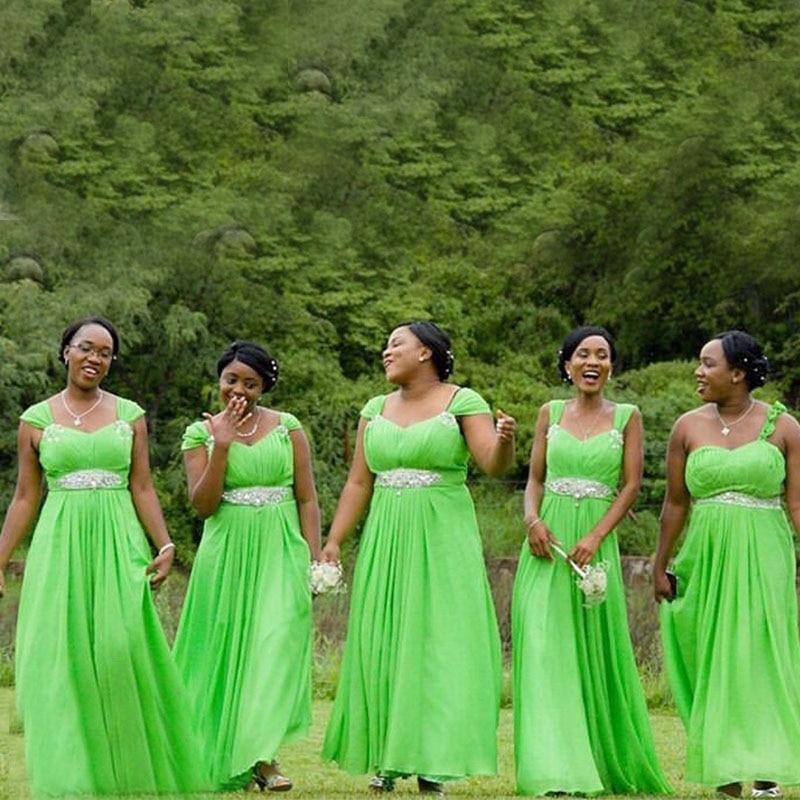 Lemon Green   Bridesmaid     Dresses   Pleat Cap Sleeves Chiffon Vestido De Novia Beaded Wedding Guest   Bridesmaid   Gowns