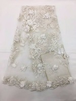 Bridal Fabric african lace fabric 2018 high quality lace french 3d lace with peal wedding nigerian lace fabric 5yards