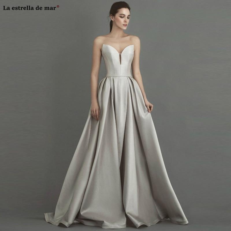 Vestidos de gala2019 new Off the Shoulder sexy sweetheart A Line silver   prom     dresses   long simple vestido formatura