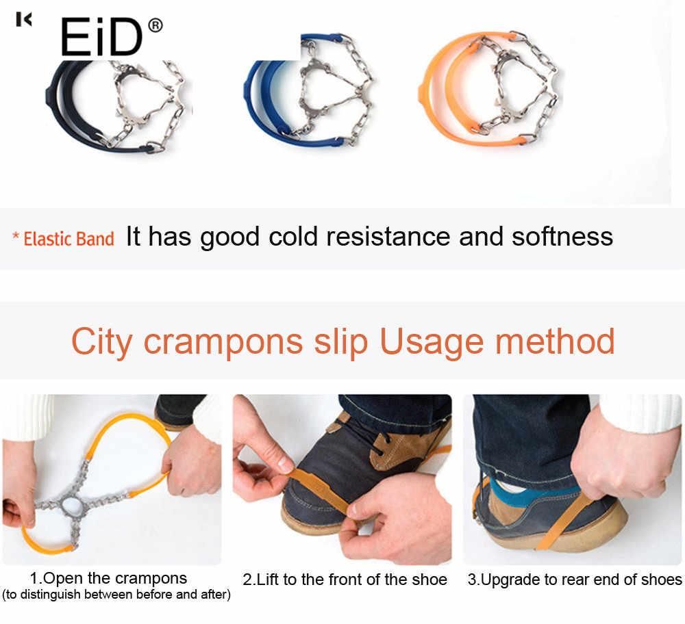 Zapatos antideslizantes de escalada al aire libre de calidad EiD para caminar 6 dientes para pescar en hielo zapatos de nieve de acero de manganeso fundas para zapatos Unisex
