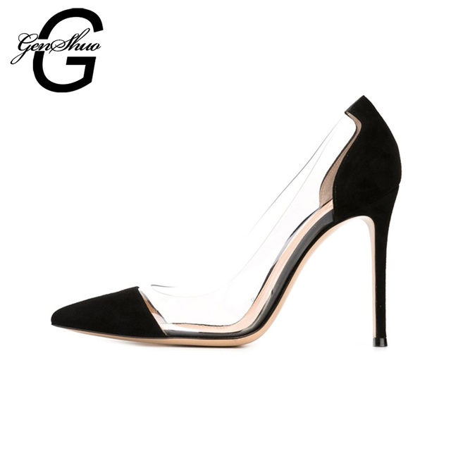 GENSHUO Women Pumps 2017 Transparent 11cm High Heels Sexy Pointed Toe Slip-on Wedding Dress Shoes For Lady Size 41 42 Leopard