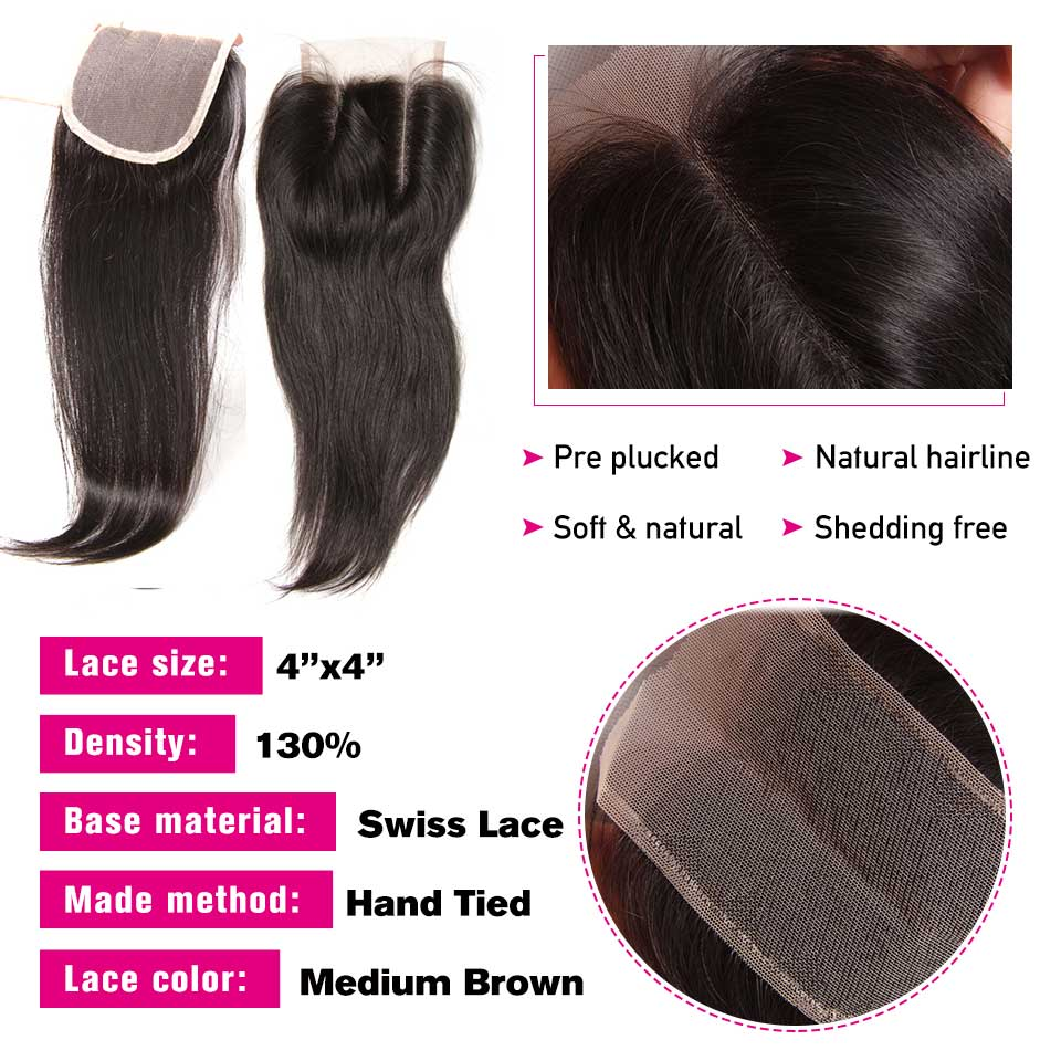 Sunber Peruvian Straight Hair 4 Bundles With Closure M Remy Human Hair Weave Bundles With 4X4inch Lace Closure Free/Middle Part