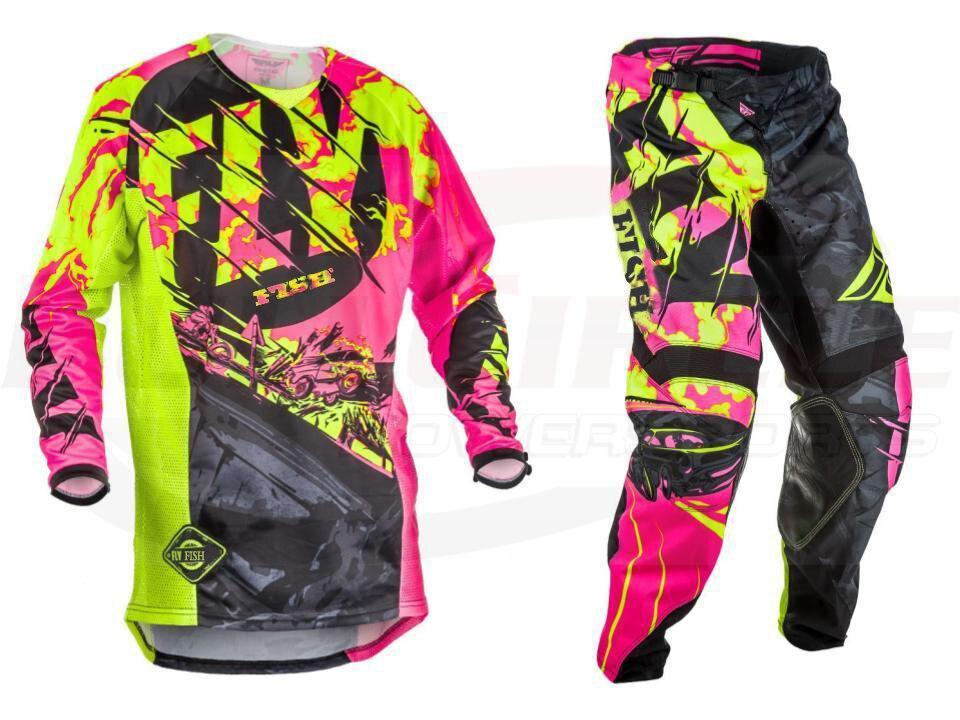 NIEUWE Fly Vis Racing Motocross MX Racing Pak Broek & Jersey Combo Moto Dirt Bike ATV Gear Set Rood/ zwart/geel