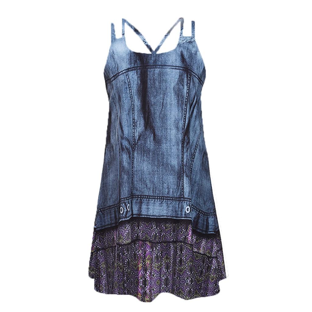 Women Dress Summer Womens Plus Size Clothing Vintage Boho Sleeveless Beach Various Patterns Printed Short Mini