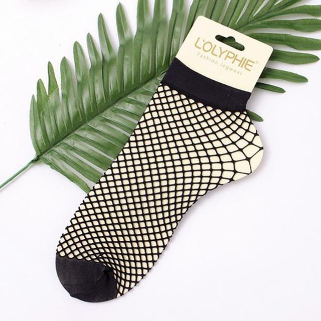 Women Girls Sexy Black Hollow Out Breathable Mesh Fishnet Socks Female Ankle Socks M34