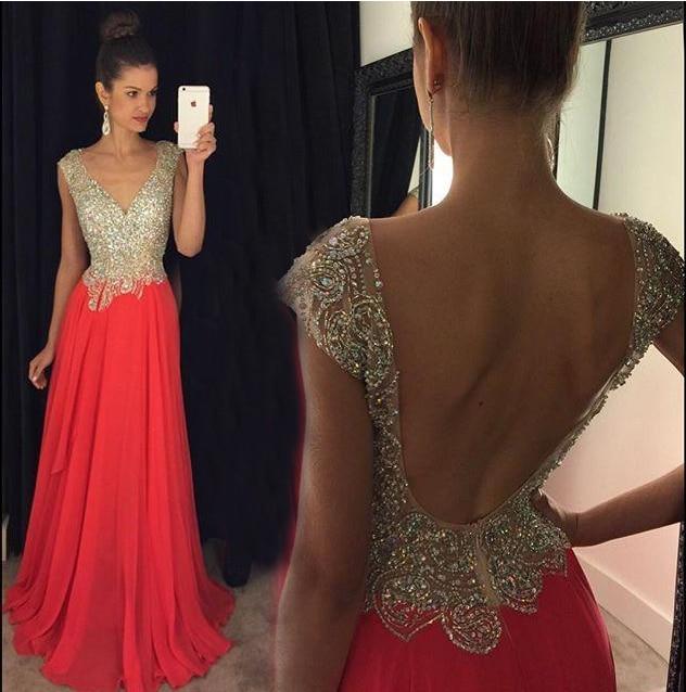 Robe de soiree Sexy   Prom     Dresses   2017 V-Neck Floor Length A-Line Crystal Beading Chiffon Long Evening   Dress