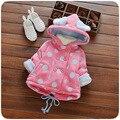 2016 Outono Inverno Crianças Roupas Casacos Com Capuz Dot Criança Amassado Casaco Bebê Meninos Da Menina do Algodão-Acolchoado Espessamento Jaqueta