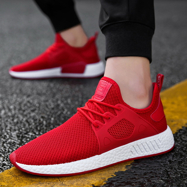 52520b7907 2018 new size 39 44 gray black red men sneakers more breathable mesh summer  comfortable lace up cheap high quality running shoes-in Running Shoes from  ...