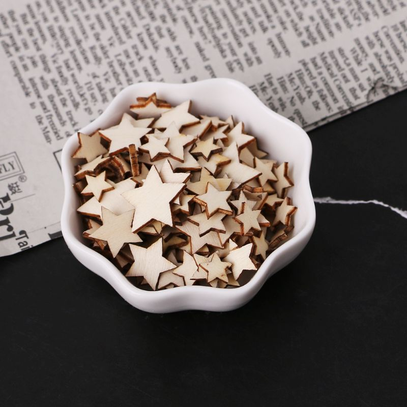 100pcs Laser Cut Wood Embellishment Wooden Star Shape Craft Wedding Decor