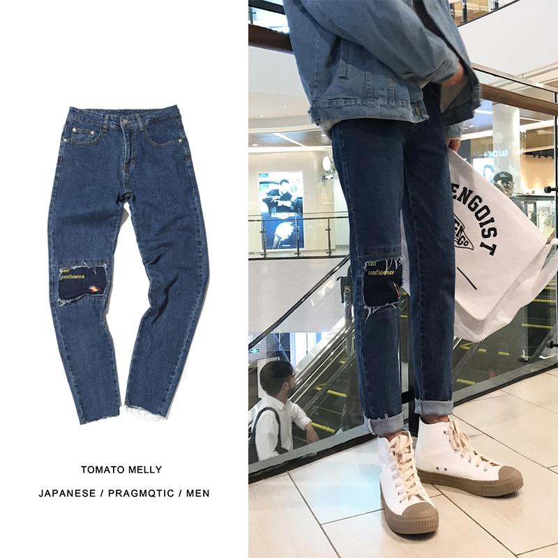 2018 новая весенняя Корейская версия молодежной уличной моды Стиль Повседневное свободные лоскутное джинсовой Мотобрюки Популярные