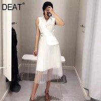 [DEAT] High Quality 2018 autumn New Fashion Black White Sleeveless Notched Stitching Mesh Hemline Women's Unique Dress YC590