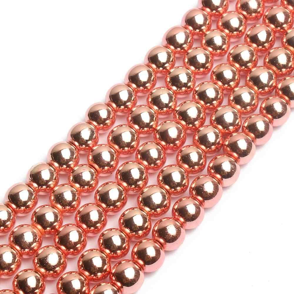 AAA ลูกปัดหินธรรมชาติ Rose Gold Hematite ลูกปัดรอบหลวม Spacer bedas สำหรับเครื่องประดับทำสร้อยข้อมือ Diy 15 นิ้ว 4 /6/8/10 มม.
